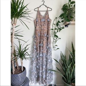 NWT Dress the Population Lace Illusion Gown